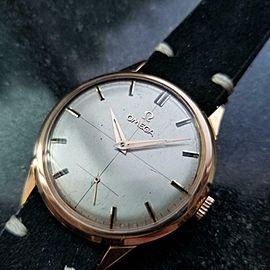 Men's Omega 18K Rose Gold ref.2640 Manual Wind Dress Watch 1960s Swiss LV540BLK