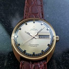 Men's Omega 18k Gold Vintage Seamaster Cosmic Automatic Day Date 1960s LV653BRN