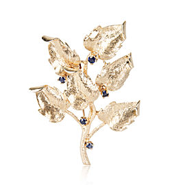 Vintage Sapphire Leaf Brooch in 14K Yellow Gold