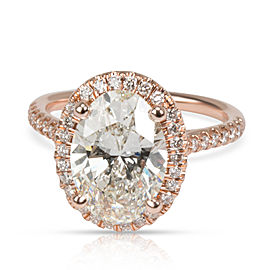 GIA James Allen Oval Diamond Halo Engagement Ring 14KT Rose Gold K VS2 2.74 CTW