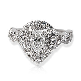 Neil Lane Double Halo Pear Diamond Engagement Ring in 14K White Gold 1.12 ctw