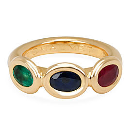 Chaumet Three Stone Sapphire, Emerald & Ruby Gemstone Ring in 18K Yellow Gold