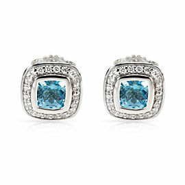 David Yurman Albion Blue Topaz Diamond Stud Earring in Sterling Silver