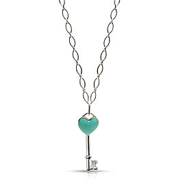 Tiffany & Co. Blue Enamel Heart Key Pendant in Sterling Silver
