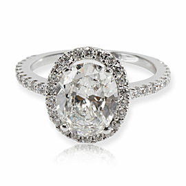 Halo Oval Brilliant Diamond Engagement Ring in 18K White Gold I VS2 2.25 CTW