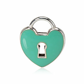Tiffany & Co. Enamel Heart Padlock Charm Charms in Sterling Silver