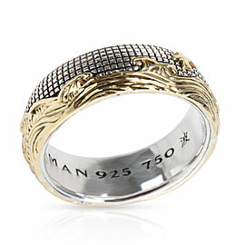 David Yurman Waves Men's Ring in 18K Yellow Gold/Sterling Silver