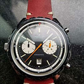 Men's Breitling Chronomatic 7651 Day Date Automatic Chronograph c.1970s LV226RED