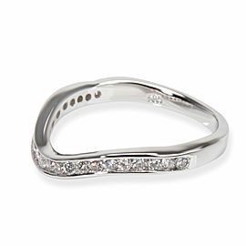 Curved Diamond Wedding Band in 14K White Gold 0.24 CTW