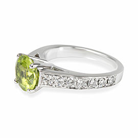 Peridot & Diamond Gemstone Ring in Platinum Green 0.7 CTW