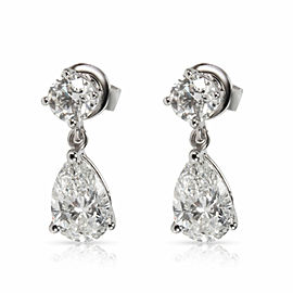 Teardrop Pear Shape Diamond Drop Earrings in 18K White Gold G IF-VS2 2.00 CTW