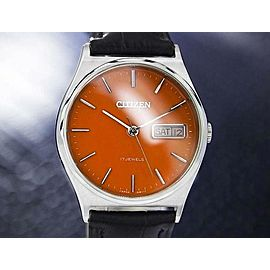Citizen Day Date Manual Wind Men's 34mm Dress Watch Orange Dial c.1970s J7081