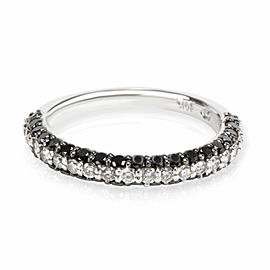 Black & White Diamond Band in 14K White Gold 0.60 CTW