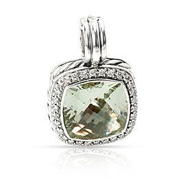 David Yurman Albion Prasiolite & Diamond Pendant in Sterling Silver 0.32 ctw