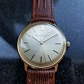 IWC Men's 34mm 1960s 18K Solid Gold Vintage Manual Wind Swiss Dress Watch LV413