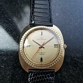 Movado Men's Solid 14K Gold 35mm Kingmatic HS360 Automatic 1960s Swiss LV437