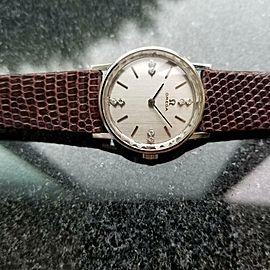 OMEGA 1970s 14k Gold & Diamond Ladies Manual Wind Swiss 27mm Vintage Watch LV451
