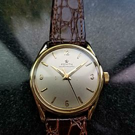 Men's Zenith 18k Solid Gold 1950s Bumper Automatic 33mm Vintage Swiss LV855