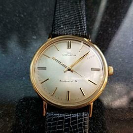 Men's Movado Kingmatic S 14k Solid Gold 34mm Automatic, 1960s Swiss Vintage GP9
