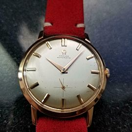 Men's Omega 34mm 1960s 18k Solid Rose Gold cal491 Automatic Watch Swiss LV636RED
