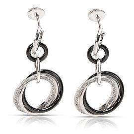 Cartier Trinity Diamond & Ceramic Drop Earrings in 18K Gold & Platinum 0.47 CTW