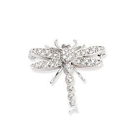 Diamond Dragonfly Brooch in 18K White Gold (0.40 CTW)