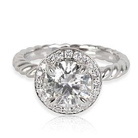 David Yurman Capri Halo Diamond Engagement Ring in Platinum GIA H VS1 1.30 CTW