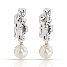 Bulgari Lucea Pearl & Diamond Drop Earrings in 18K White Gold (0.50 CTW)