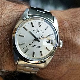 Rolex Oyster Perpetual 1500 Date Vintage 1960s Auto 34mm Mens Swiss Watch LV416