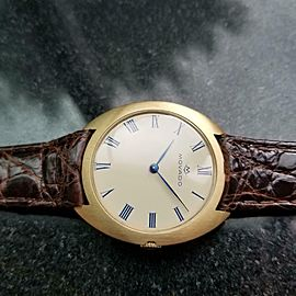 Men's Movado 18k Gold 35mm Hand-Wind Dress Watch, c.1960s Swiss Vintage LV439