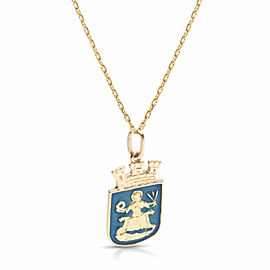David-Andersen St Hallvard Pendant in 18K Yellow Gold & Enamel on Anchor Chain
