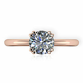 GIA Certified Round cut Diamond Engagement Ring in 14KT Gold E VS1 1.01 Ct