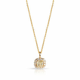 Diamond Halo Necklace in 14K Yellow Gold GIA Certified W-X VS2 1.28 CTW