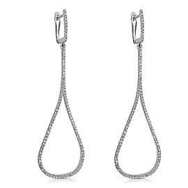 14KT White Gold Diamond Teardrop Earrings 0.80 ctw