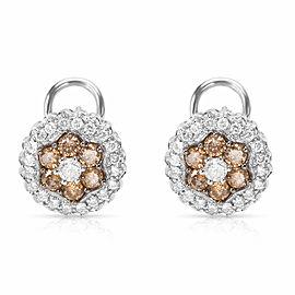 White & Brown Diamond Flower Earrings in 14k White Gold (2.00 CTW)