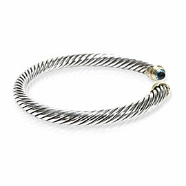 David Yurman Cable Bracelet with Blue Topaz in 14K Yellow Gold/Steel