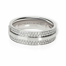 Tiffany T Wide Pave Diamond Ring in 18k White Gold 0.58 CTW