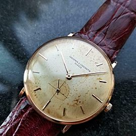 Men's Vacheron & Constantin 18K Rose Gold Manual 33mm 1960s Swiss Vintage LV658