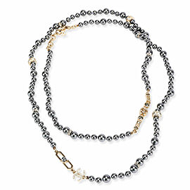 Chanel Costume Long Necklace with Cultured Black Pearl & Strass
