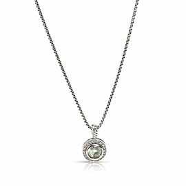 David Yurman Albion Collection Prasiolite Diamond Necklace in Sterling Silver