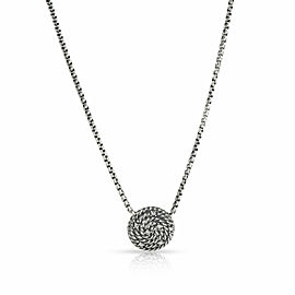 David Yurman Diamond Coil Necklace in Sterling Silver 0.07 CTW
