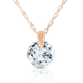 0.65 CTW 14K Solid Rose Gold Single Round Aquamarine Necklace