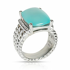David Yurman Wheaton Cabochon Chalcedony Diamond Ring in Sterling Silver 0.16ctw