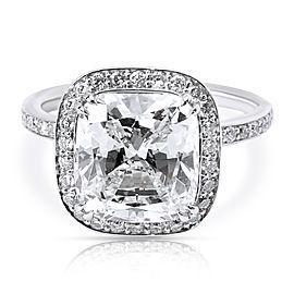 Halo Cushion Cut Diamond Engagement Ring in Platinum G VS1 4.48 CTW