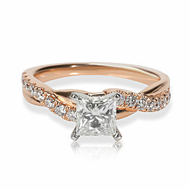 Braided Diamond Engagement Ring in 14K Rose Gold H VS2 1.08 CTW