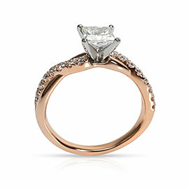 Braided Diamond Engagement Ring in 14K Rose Gold H VS2 1.08 CTW