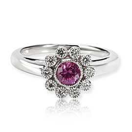 Tiffany & Co. Pink Sapphire Diamond Flower Ring in Platinum 0.10 CTW