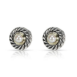David Yurman Pearl Cookie Earrings in 14K Yellow Gold/Sterling Silver