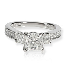 Scott K Three Stone Princess Diamond Engagement Ring in 14K Gold D SI1 2.14 CTW