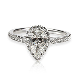 Halo Pear Shape Diamond Engagement Ring in 14K White Gold GIA H SI1 1.56 CTW